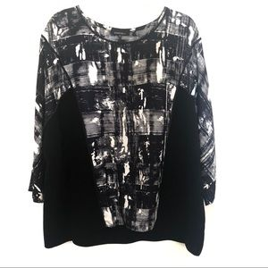 Lafayette 148 Black and White 3/4 Sleeve Silk Top